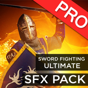 The Sword fighting Ultimate sound effects pack features 54 high quality SFX: Sword hit sword, sword hits flesh, blunt weapons hit flesh, shield bash and more. A must have for any game featuring medieval style combats! Gibs and gore sounds