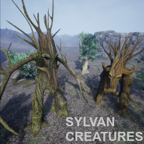 Fantasy creatures from the forest, one is biped and the other quadruped. They are both animated and have four different types of heads and two types of optional leaves.