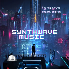 A collection of 10 futuristic synthwave music tracks for your project.