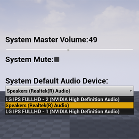 Control audio device in the system.