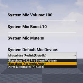 Control microphone device in the system.