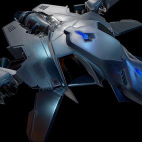 PBR HQ Top-Down Sci-Fi Fighter