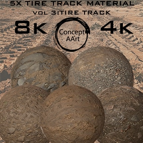 5 Super Realistic Tire Track Materials for all platforms. All Textures have their own 8K,4K,2K and 1K version and ready for every kind of project.
