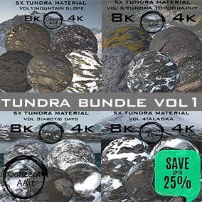 Tundra material Bundle for all platforms. All Textures have their own 8K,4K,2K and 1K version and ready for every kind of project.