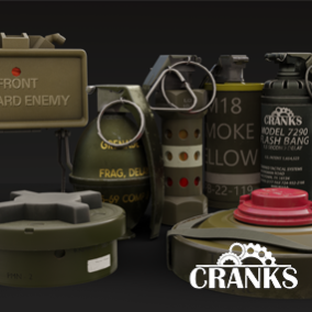 A mixture of 7 grenades, three smoke grenades, frag, stun, flashbang, CS Gas, Also includes three different mines.