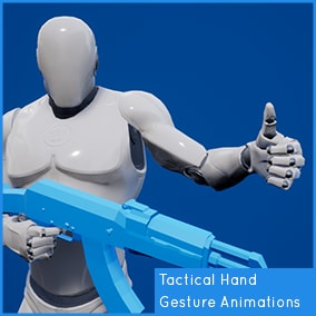 31 Tactical Hand Gesture Animations. Targeted to the UE4 Mannequin.