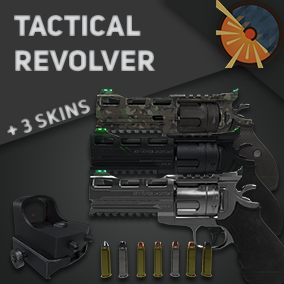 3D Tactical Revolver fully rigged with 3 skins( PBR textures), Collimator Sight, 7 bullets, SpeedLoader