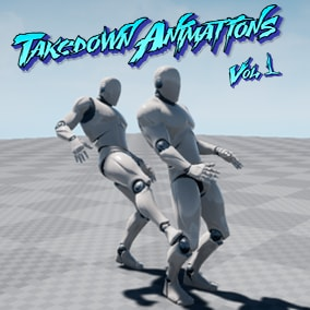 A set of takedown animations with hands and melee weapons