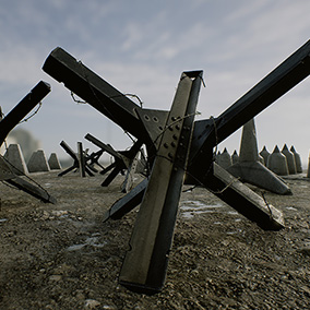 A set of nine realistically rendered military tank barriers commonly used in the construction of military defense barricades and defenses in order to stop enemy tanks from advancing on the battlefield. Suitable for a WW2 or modern setting.
