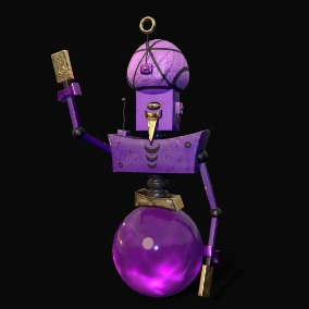Animated tarologist robot with simple rig and 4 variants of materials