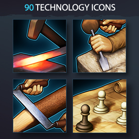 Set of 90 realistic medieval technology icons.