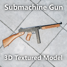 3D game-ready Submachine Gun model with realistic 4k textures