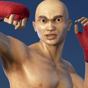 Muay Thai Boxer with boxing fighting animations.