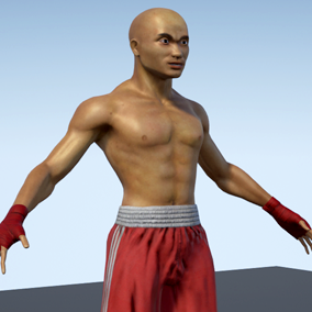 Low polygonal game ready animated model of Thai boxer.