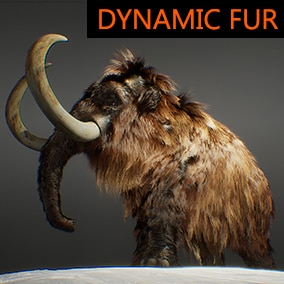 A high-quality animated mammoth character with dynamic fur