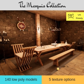 Medieval inspired interior furniture low poly assets and props. Featuring AAA quality PBR textures. Featuring 5 texture options and 5 example scenes. A must have for any one working with anything medieval / fantasy.