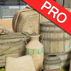 The Medieval Fantasy Container Pack Pro contains 43 high quality realistic 3d models for you to use in your medieval, RPG, or fantasy themed video games. Barrel, basket, bucket, chest, crate, box, sack, urn