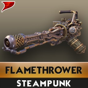 This is a pack of The SteamPunk Flamethrower, This Pack includes Models, textures, materials, VFX, SFX and animations.