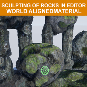 100 rocks with tessellation and sculpting material