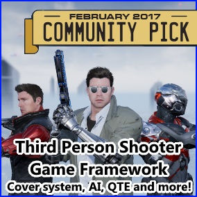Third Person Shooter Kit serves as a base for third person shooter game. It's a 100% blueprint project, with detailed features level and notes inside blueprints. It contains advanced mechanics like cover system and robust AI.