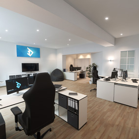 A complete office interior with furniture and decorations. VR-ready.