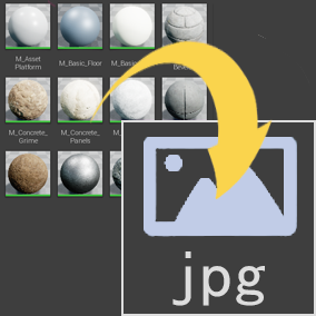 Render assets thumbnail to jpg file