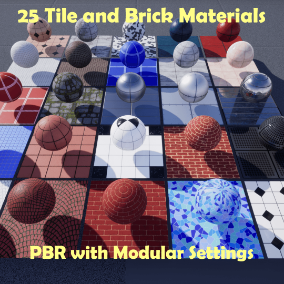 25 PBR Tile/Brick Materials with modular settings for increased variation.