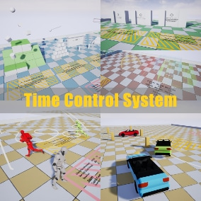 Time Control System contains controls for the global time direction and dilation, reversible actors and projectiles, functional clock system, time volumes, record and replay system for character and vehicle movement.