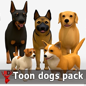 This asset pack has TOON style DOG models.