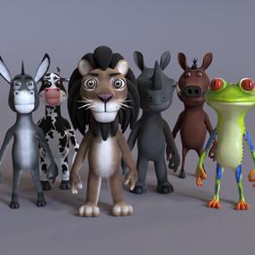 Animated stylized humanoid animals.