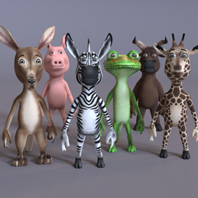 Animated stylized humanoid animals.