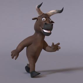 Animated stylized humanoid bull.