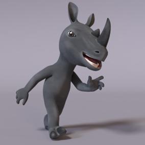Animated stylized humanoid rhinoceros.