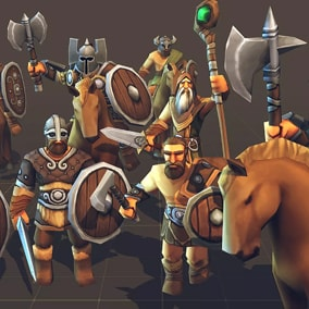 Toon Low-Poly RTS Fantasy Barbarians Units pack, Ideal for strategy games.
