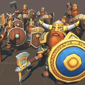Fully customizable Toon Low-Poly RTS Dwarf Fantasy Units pack, Ideal for strategy games.