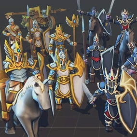Fully Customizable Toon Low-Poly RTS Fantasy Elf Units pack, Ideal for strategy games.