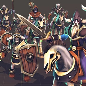 Toon Low-Poly RTS Fantasy Undead Units pack, Ideal for strategy games.