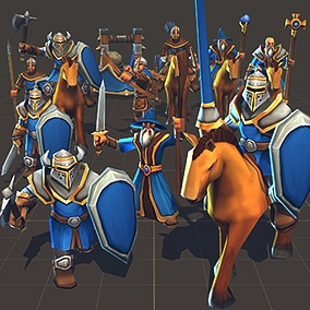 Toon Low-Poly RTS Fantasy Units pack, Ideal for strategy games.