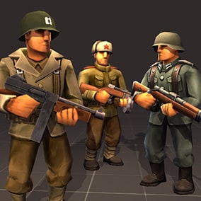 Cartoonish low-poly WW2 soldiers fully animated