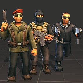 Fully Customizable Low poly militia soldiers, mobile ready.