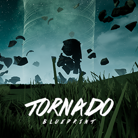 A tornado blueprint that interacts with physics objects, skeletal and destructible meshes in your scene.