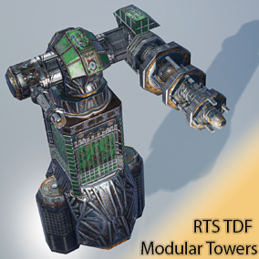 low polygon RTS / Tower Defense PC modular tower and weapon objects PC and Mobile