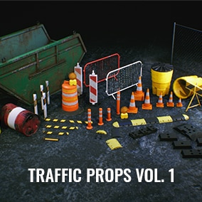 Collection of traffic construction elements with different color/tear and wear varation.