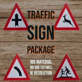 Traffic Sign Package-1 includes 100 different road sign textures that created with  RGB Masked Master Material