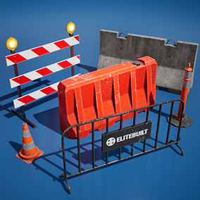 Collection of traffic barriers with different color variations nad clean materials.