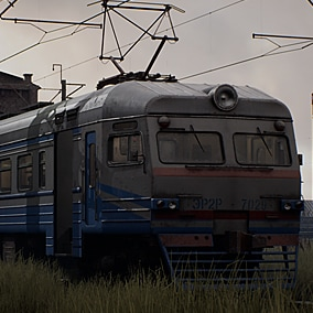 The post soviet train yard environment, includes modular trains with interiors, modular buildings, background buildings, props and decals set.