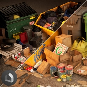 This asset pack contains a large collection of rubbish/trash props to populate your environments.