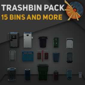 15 trash cans of different forms and decor with the ability to change trashbins color and dirt level.