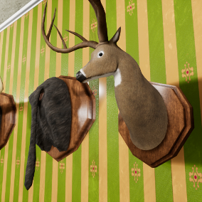 A variety of mounted animal heads and butts, such as deer and elephant, for wall display.