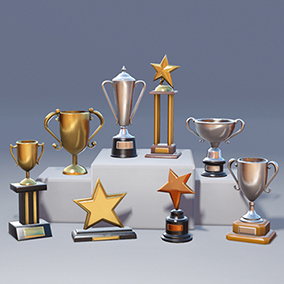 8 individual trophy models with realistic, PBR, procedural materials that can generate gold, silver and bronze versions of each, as well as a color picker to change the color of the base.